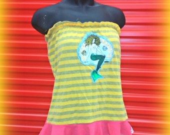 Yellow Tube Top Upcycled Clothing Strapless Shirt Women's Ruffle Top Summer Fashion Recycled T-Shirt Eco Friendly Boho Chic Mermaid Shirt