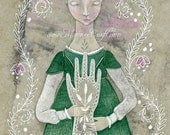 "Ghostly victorian girl folk art print, ""The Folk Hand"""
