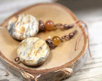 Golden Feldspar Earrings Amber Jade Copper Dangle Earrings Round Coin Desert Sands Natural Gemstone Southwestern Phoenix Fire Designs RTS