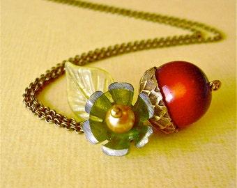 Acorn Lucite Floral Brass Necklace