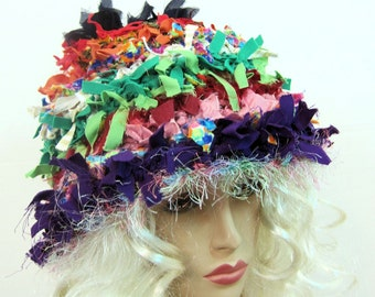 Rag hat, crochet hat, crazy hat, hats for women, weird hat, cloche hat, unique, ooak hat, millinery, flapper hat, chemo hat, bucket