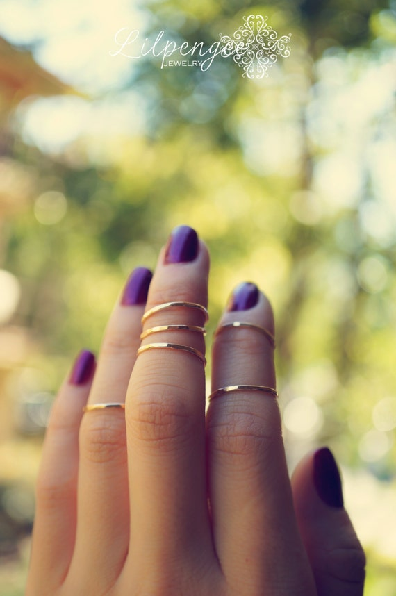 mini gold stackers 14k gold fill midi ring set knuckle