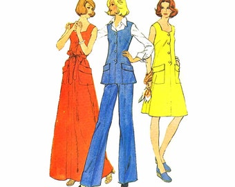 1970s Womens Dress Top Pants McCalls 4025 Vintage Sewing Pattern Misses Pullover Dress Top Left Side Zipped Pants Size 12 Bust 34 UNCUT