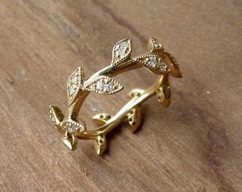 Diamond Leaf Eternity Band - Custom