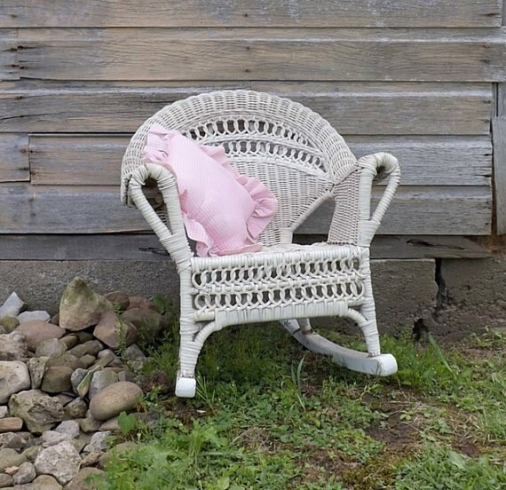 Antique Child S Wicker Rocking Chair White Chippy Paint