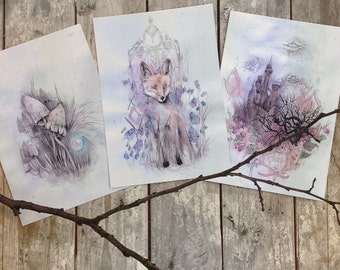 Fox, Shrooms, Ufo Castle // Mini Print Set