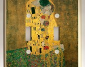 The Kiss (Lovers) - Gustav Klimt. - Altered Art Double Light Switch Plate - Rich Earth Tone Colors of Gold and Brown