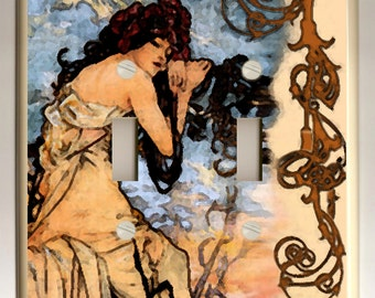 """Alphonse Mucha """"Summer"""" Black, Tan and Blue Decorative Double Toggle Light Switch Plate"""
