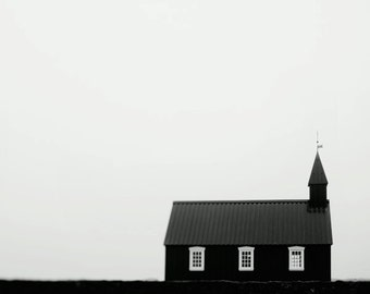 "Scandinavian Art, Minimalist Landscape Photography, Modern Black and White Art, Church in Iceland, Nordic Photography ""Little Chapel"""
