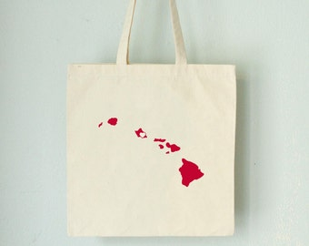 SALE HAWAII LOVE Tote Honolulu red state silhouette with heart on natural bag