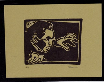 Original Bela Lugosi as Dracula Movie Monster Vampire Art Limited Edition Hand Pulled Linocut
