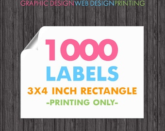 1000 Labels 3x4 Inch Rectangle, Full Color Sticker Printing, Glossy Labels, Crack and Peel, Cut to Size