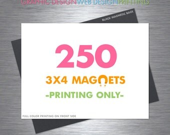 Magnets 250 Printed 3x4 Inch, Save the Date Magnet, Magnetic, Full Color, Glossy Finish
