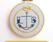 HOLD FAST -- pdf embroidery pattern -- custom initials and anchor, nautical, anchor embroidery pattern, nautical design, by cozyblue on etsy