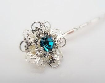 Aquamarine Swarovski Filigree Flower Hair Pin, Silver Plated with Aquamarine and Clear Crystals