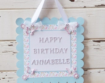 Butterfly Garden Party Door Sign- Girl 1st Birthday- Welcome Sign