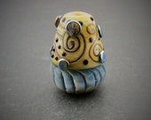 Handmade Lampwork Glass Focal Bead. SRA, Blue Gray Heart Black with Iridescent Silver Shine...