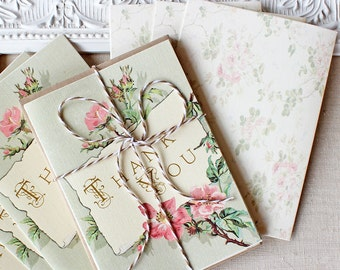 Vintage Floral Thank You Notes set of 20 Roses Blush Pink Antique Gold  Mint Green