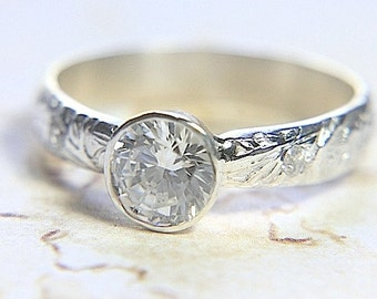 CZ Eco-Friendly Engagement Ring - Solitaire w/ Flush Set Gemstones engraved band - Engagement Ring