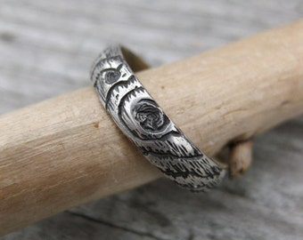 wood grain twig ring THIN PLYWOOD sterling 4mm woodland Made to Order size