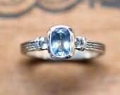 Aquamarine engagement ring, 3 stone engagement ring, braided ring, unique three stone engagement ring, March birthstone ring, Wheat