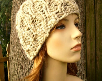 Knit Hat Womens Hat - Amsterdam Cable Beanie in Oatmeal Knit Hat - Oatmeal Hat Womens Accessories Winter Hat