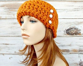 Crochet Hat Womens Hat 1920s Flapper Hat - Garbo Cloche Hat in Apricot Orange Crochet Hat Orange Hat Womens Accessories - READY TO SHIP