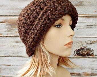 Crochet Hat Brown Womens Hat 1920s Flapper Hat - Garbo Cloche Hat Wood Brown Cloche - Brown Hat Brown Beanie Womens Accessories Winter Hat