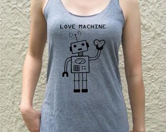 LOVE MACHINE robot heart women screen print tank top retro geek nerd