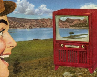Original Collage Art Surreal Landscape Art Retro TV Funny Artwork Paper Collage Humorous Wall Art