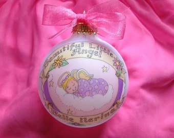 Baby Girl Memorial Ornament, Totally Original, Personalized Ornament,  Handpainted, with Display Stand
