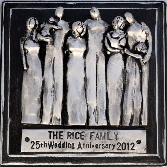 Silver Wedding Anniversary Gifts For Him: 25th Anniversary Gift Family Portrait Plaque 25 Year