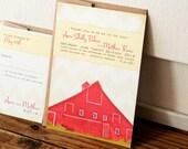 Red Barn Wedding Invitation - Country Barn Wedding - Design Fee