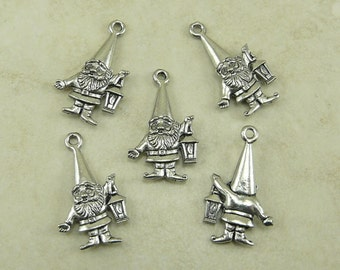 5 Garden Gnome with Lantern Charms > Gnomeo Fantasy Spring Forest - Unfinished American Made Lead Free Silver Pewter I ship internationally