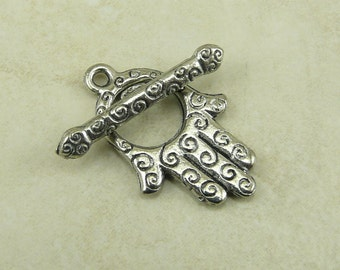 1 Spiral Hand Toggle Clasp > Hand of Fatima Hamsa Henna Swirl Celtic Peace Raw American Made Lead Silver Free Pewter I ship internationally