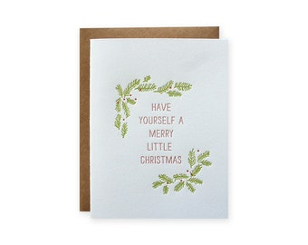 Set of 6 - Merry Christmas Letterpress Cards