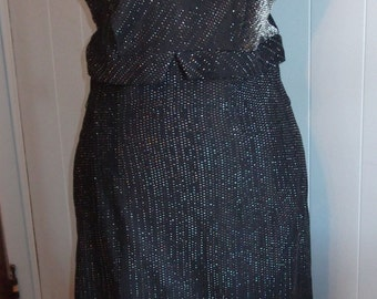 1960's Radiant Black Lurex Cocktail Dress - Size M/L