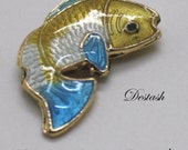 Koi Cloisonne Beads- Turquoise, White, Yellow and Gold