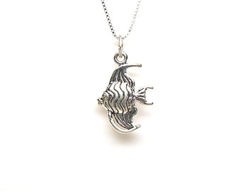 Tropical Angel Fish Sterling Silver Sea Life Charm Pendant Customize no. 1968