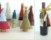 Knit Christmas Tree Ornament with Wine Cork Base - Pick your Tree