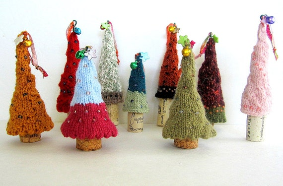 CIJ Knit Christmas Tree Ornament with Wine Cork Base - Pick your Tree