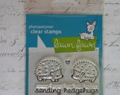 Lawn Fawn Clear Photopolymer Rubber Stamp set - Hedgehugs.