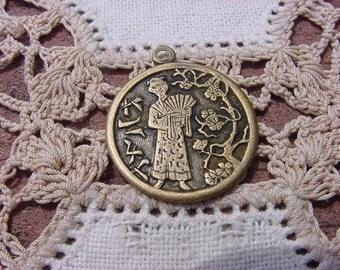 Oriental Geisha Vintage Brass Pendant