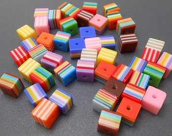 24 Multi Stripe Acrylic Beads resin stripes 8mm square (H1495)