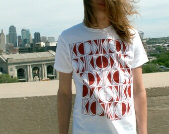 KC Tribal T-shirt, Red print/white shirt, Kansas City