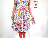 SALE - Football Dress - plus size, size 18, size 20, made from vintage NFL team logo fabric, with matching hankie -- 47B-40W-62H