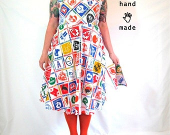 SALE - Superbowl Football Dress - plus size, size 18, size 20, made from vintage NFL team logo fabric, with matching hankie -- 47B-40W-62H
