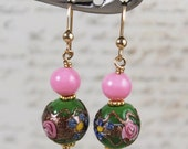 Vintage Green, Pink and Gold Venetian Glass 14k Gold Fill Earrings