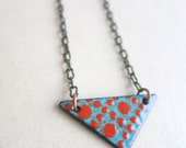 Red and Aqua Enamel Necklace- Reversible