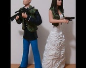 Custom Camo Wedding Cake Toppers Figure set - Personalized to Look Like Bride Groom from your Photos